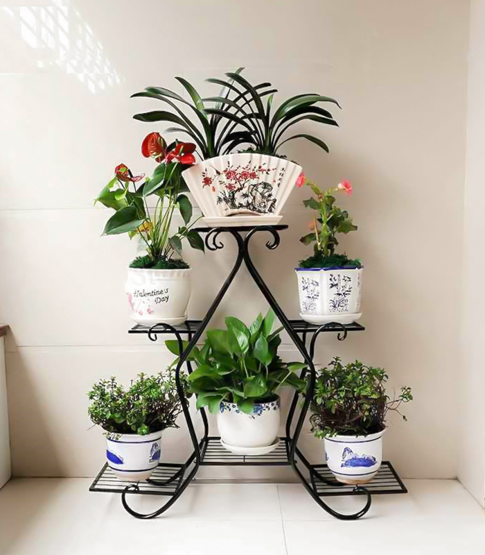 6 Layer Flower Shelf black